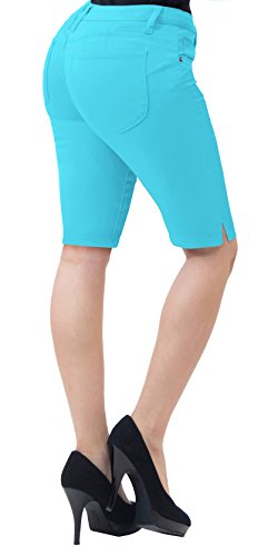 (HyBrid & Company Super Comfy Stretch Bermuda Shorts B43302 Aqua)