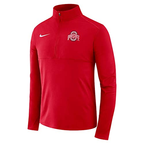 Nike Men's Ohio State Quarter Zip Pullover Dri-Fit Element Top - Scarlet Red (Large)