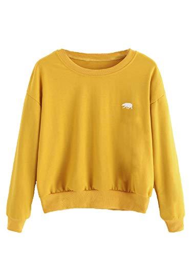 SweatyRocks Womens Casual Long Sleeve Pullover Sweatshirt Alien Patch Shirt Tops (Large, Yellow_Bear)