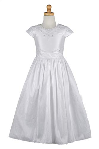 Taffeta Beading - Flower Girl First Communion Dress - Fully Lined Taffeta Cap Sleeve Dress with Hand Beading (8) White