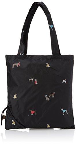 Joules Pacabag, Borsa a mano Donna, Nero (Black Chic Dogs), 2x37x36 cm (W x H x L)