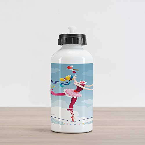 Ambesonne Circus Aluminum Water Bottle, Graphic Circus Performer Woman Juggling with Balls Standing on Wire as Blindfolded, Aluminum Insulated Spill-Proof Travel Sports Water Bottle, Multicolor