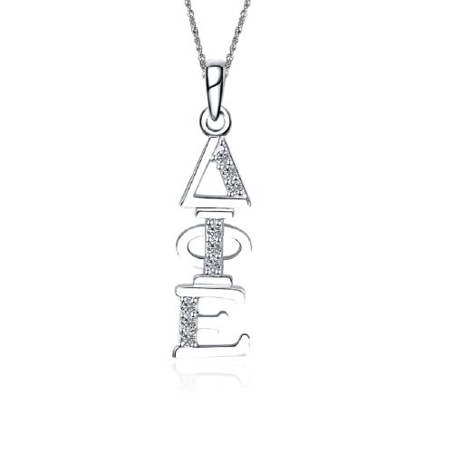 "Greek Star Delta Phi Epsilon Necklace with a 18"" Silver Chain - Vertical Design (DPE-P001)"
