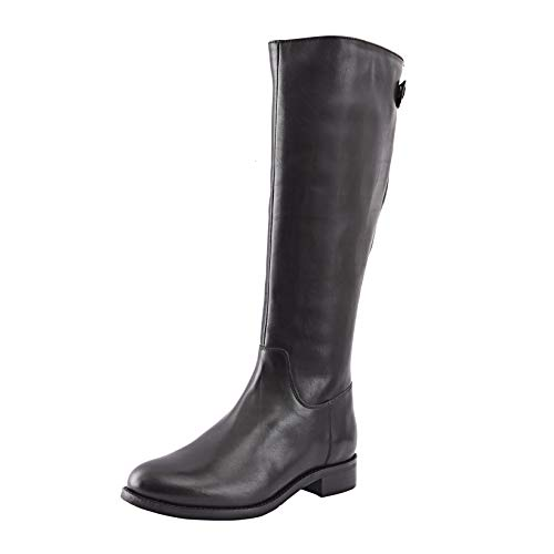 Allonsi Amata Women's Genuine Leather Classic Knee High Riding Boots, Knee High Boots with Low-Heel, TPR Sole and Zip Closure (Black, 9W US)