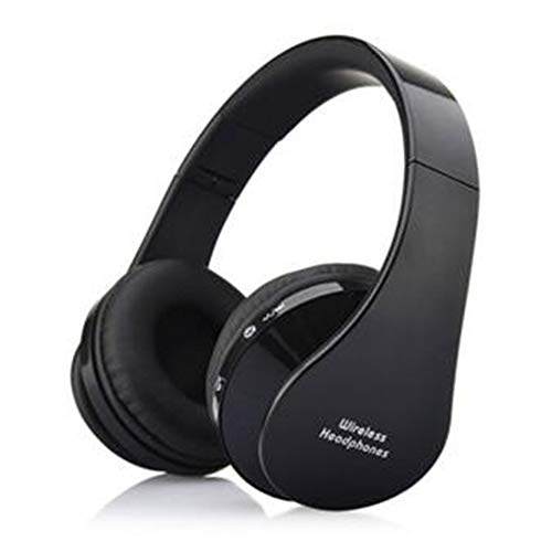 Wireless Over-Ear Headset with Deep Bass, TF Card Bluetooth Stereo Headphones,Sports Folding, PC,Soft Earmuffs &Light Weight for Prolonged Wearing (Black/Blue/Red/White),Black ()