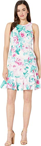 Nine West Women's Printed Cotton Eyelet Sleeveless Floral Ruffle Hem Dress Ivory/Pink Multi 6