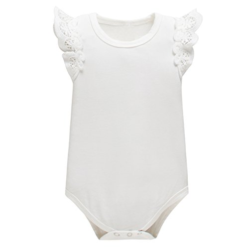 Ivory Flutter Top Sleeve - Yatong Baby Girls Bodysuit Onesies Baby Romper (18-24 Months, White)