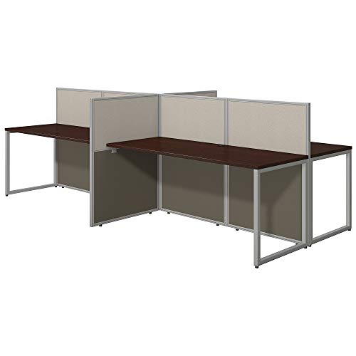 Bush Business Furniture Easy Office 60W 4 Person Straight Desk Open Office in Mocha Cherry ()