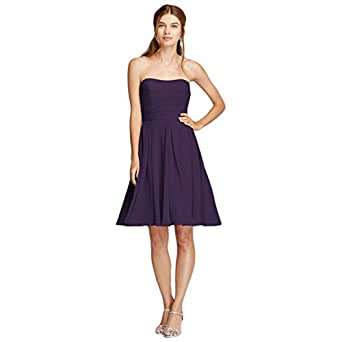Strapless Pleated Bodice Bridesmaid Dress Style F18028, Lapis, 2