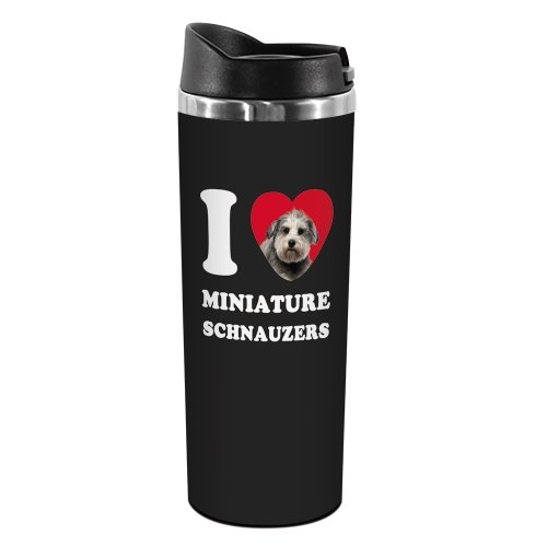 Giant Schnauzer Club - Tree-Free Greetings TT42089 I Heart Miniature Schnauzers 18-8 Double Wall Stainless Artful Tumbler, 14-Ounce, Grey
