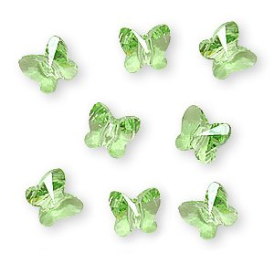 Butterfly Austrian Crystal - Swarovski Crystal, 5754 Butterfly Beads 6mm, 8 Pieces, Peridot