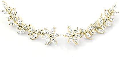 Ear Crawler Earrings Ear Climber 14k Gold Plated 925 Sterling Silver Flower Ear Cuff Wedding Earrings