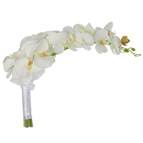 MonkeyJack Wedding Ceremony Cascade Waterdrop Bouquet Bridal Bridesmaid Artificial Silk Flower Calla Lily Orchids Flower - Orchid Lily Bouquet Calla