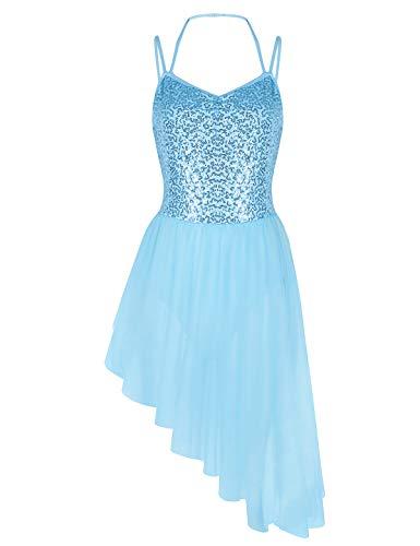 (iiniim Women's Sequined Camisole Leotard High Low Ballet Tutu Dress Dance Wear Costumes Sky Blue)