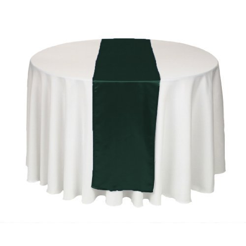LinenTablecloth 14 x 108-Inch Satin Table Runner Hunter Green