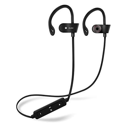 Bluetooth Headphones, Wireless Earbuds with Build-in Microphone Sweatproof Earpiece Noise Cancelling Sports Earphones for Workout and Running (Black)