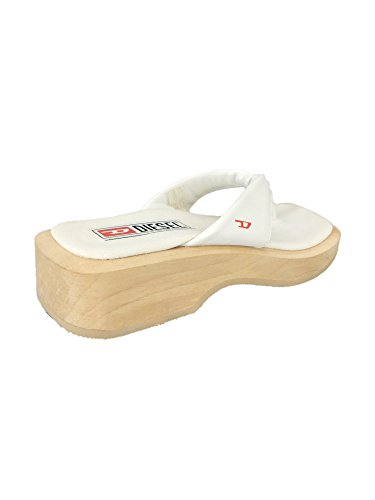 With White Lani flops Sole Wooden Leather Vintage Flip qIggwzap