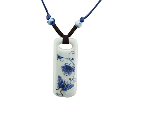 Custom Made Costumes San Francisco (Adorable Woman Ceramic Blue & Yellow Butterfly Flower Rectangular Pendant Adjustable Necklace)