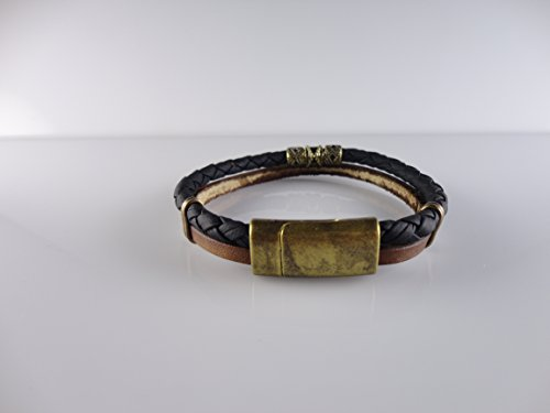 Genuine Leather and Rope Bracelet, Brown Black Color, Fits 8.2 by Handmade Studio HS4724L - Fossil Brand Charms