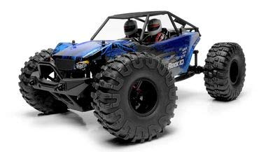 (Exceed RC Rock Racer Radio Car 1/10 Scale 2.4Ghz Max Rock 4WD Powerful Electric Remote Control 100% RTR Ready to Run w/ Waterproof Electronics (Blue))