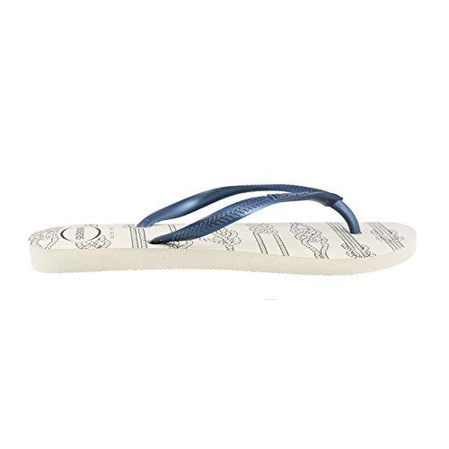 Havaianas Women's Slim Nautical Flip Flop Sandal,Navy Blue, 39/40 BR(9-10 M US Women's / 8 M US Men's) ()
