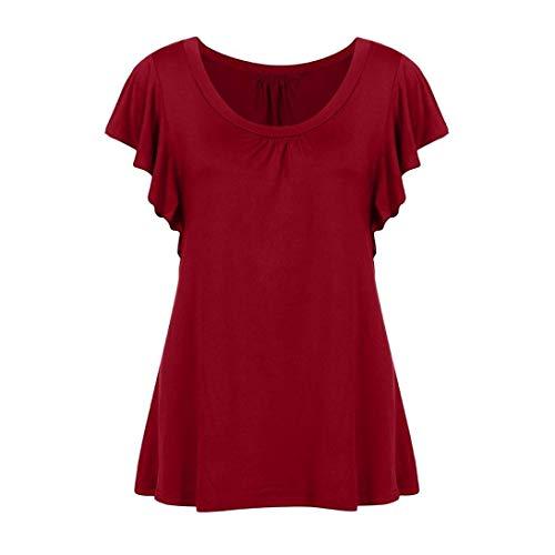 femme shirt avec couleur violet taille plissée souple encolure Zhrui à T rouge et 10 longue manche W5Y7nnwgqX