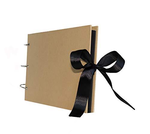 (Scrapbook Album 80 Pages - Family Adventure Book w/Scrapbooking Supplies | Includes Silver Ink Pen, 6 Binder Rings, Corner Stickers | Photo Album Book for Wedding, Anniversary & Memories)