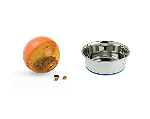 OurPets (4 inch) IQ Treat Ball Interactive Food Dispensing Dog Toy & Premium DuraPet Dog Bowl (Rock & Roller Glasses Silver And Blue)