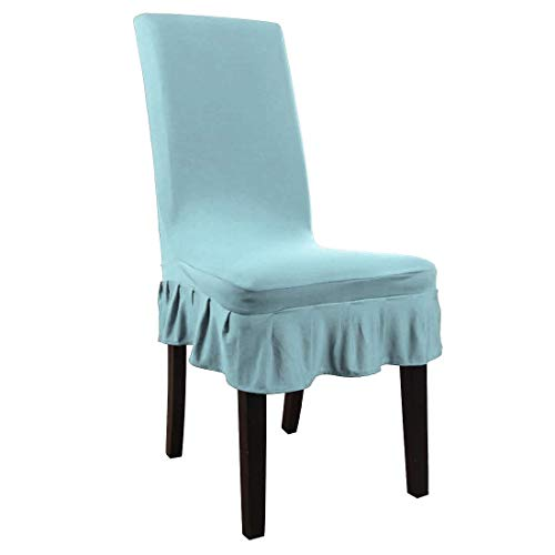 ZCHXD Dining Chair Covers,Ruffled Skirt Stool Slipcover Stretch Spandex Chair Protectors Short Kitchen Chair Seat Cover for Home Dining Room(Large,Light Blue)