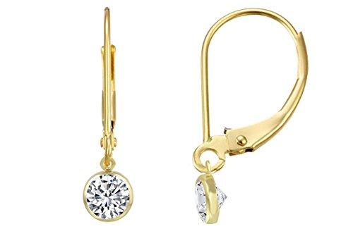 14K Gold Filled Leverback Clear Cubic Zirconia Bezel Drop Earrings 4 mm