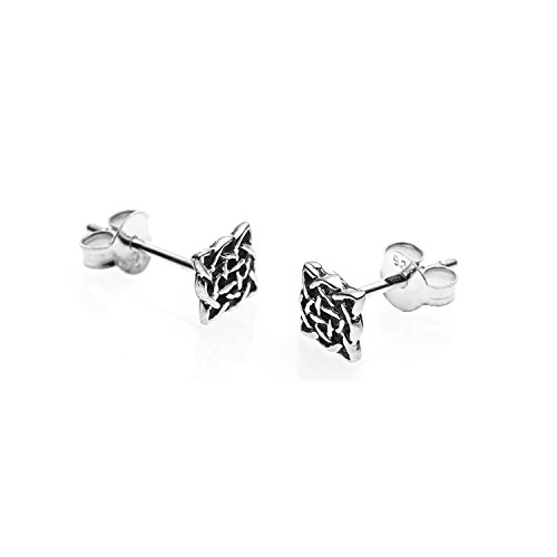 925 Sterling Silver Tiny Square Celtic Knot Post Stud Earrings 12 mm - Nickel Free