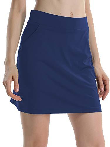 Jessie Kidden Women's Athletic Stretch Skort Skirt with Shorts and Pocket for Running Tennis Golf Workout #949-Deep Blue, XS ()