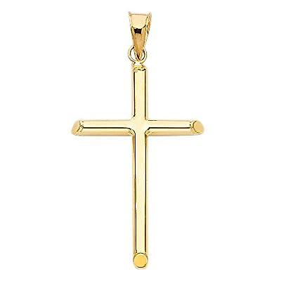 14k Yellow Gold Religious Classic Cross Charm Pendant