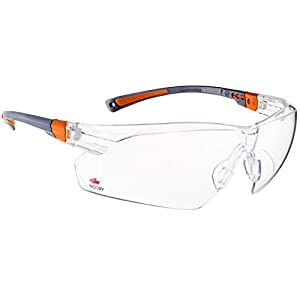 NoCry Safety Glasses with Clear Anti Fog Scratch Resistant Wrap-Around Lenses and No-Slip Grips, UV Protection. Adjustable, Black & Orange Frames