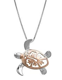 """Sterling Silver with 14k Rose Gold Plated Shell Hibiscus Turtle Pendant with 18"""" Box chain(19mm)"""