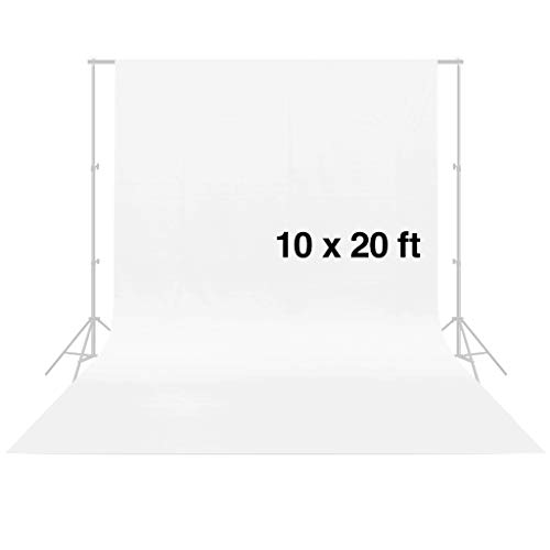 - CRAPHY Photo Studio Backdrop 10 x 20FT / 3 x 6M Silk Cotton Cloth Collapsible Background Lightweight Seamless Sheet for Professional Photography- White