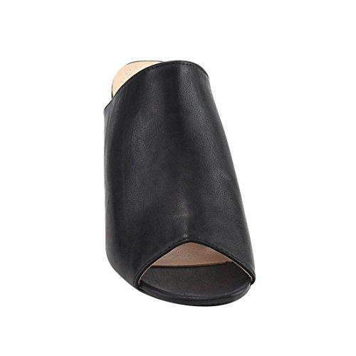 Chase & Chloe Ef70 Womens Sandalo Con Tacco Medio E Blocco Nero