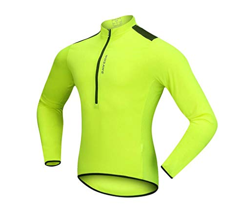 QJXSAN Men's Cycling Jacket Mountain Bike Jersey Half Open Zip Casual Long Sleeve Reflective Strip Solid Color Top Road Bike Suit (Color : Green, Size : XL)