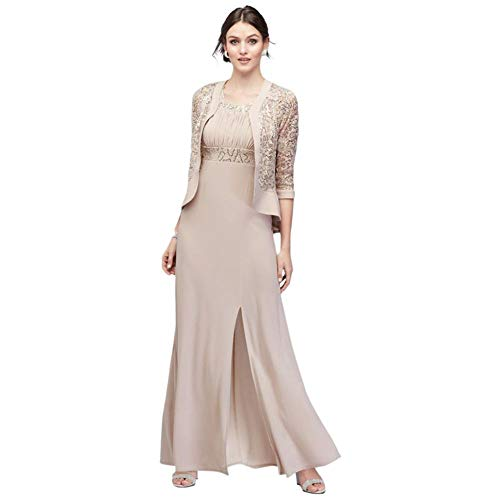 Two-Piece Set with Jacket and Ruched Bodice Mother of Bride/Groom Dress Style 3785, Champagne, 16