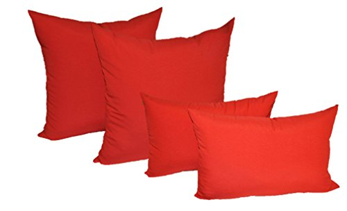Set of 4 Indoor Outdoor Pillows – 2 Square Pillows 2 Rectangle Lumbar Decorative Throw Pillows – Solid Red 20 x 20 square 11 x 19 rectange