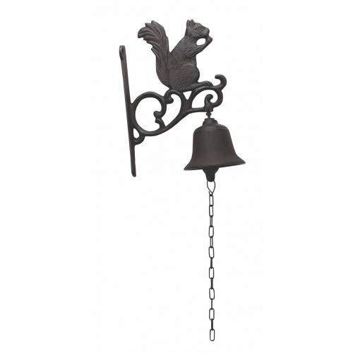 HomeOffice Cast Iron Squirrel Dinner Bell Yard Art Wall Hanging Garden