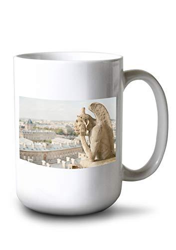 Lantern Press Gargoyle on Notre Dame, France Photography A-91332 (15oz White Ceramic Mug)