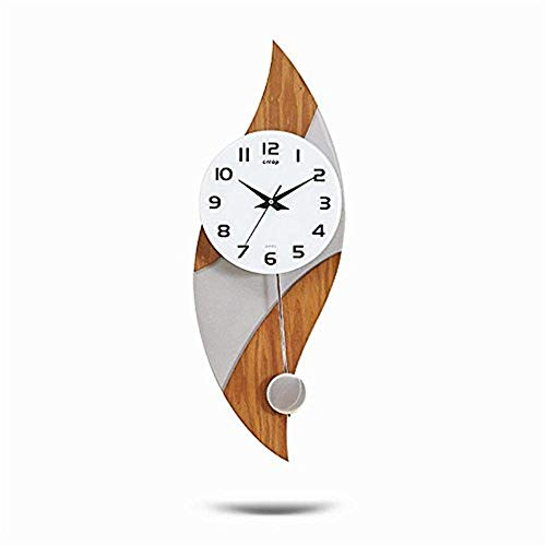 (Ldlsz Clock Silent Pendulum Wall Clock Wooden Framed Glass Fronted Pendulum Clock, Creative Modern Mute Craft Clock )