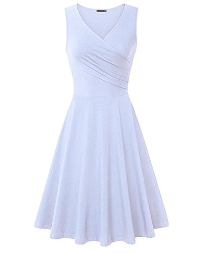 KILIG Women's V Neck Sleeveless Summer Casual Elegant Midi Dress(White,XL)