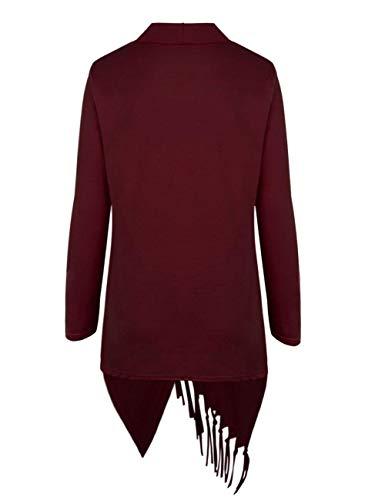 Casuale Irregular Pullover Donna Moda Giacca Tassels Donne A Maglia Manica Outerwear Stile Maglioni Winered Elegante Monocromo Modern Lunga Di Autunno Battercake 0vFwq5F