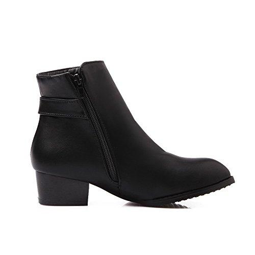 Amoonyfashion Womens Spitse Gesloten Teen Lage Hakken Zacht Materiaal Stevige Rits Laarzen Zwart