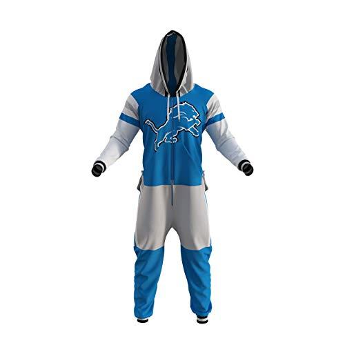 Detroit Lions NFL Adult Onesie (Medium) Blue (Detroit Lions Pajamas Mens)