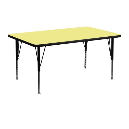 Flash Furniture 24''W x 48''L Rectangular Yellow Thermal Laminate Activity Table - Height Adjustable Short ()