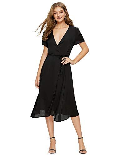 - Escalier Women's Floral Wrap Dress Split V Neck Tie Front Chiffon Party Midi Dresses Black Medium