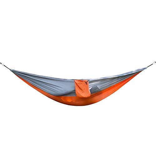 (XiuanCum Strength Outdoor Hammock Tree Portable Parachute Sleeping Swings Orange Grey)